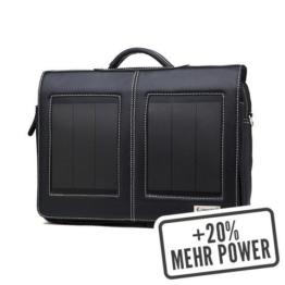 SunnyBAG® Business Professional+ Solar-Tasche 14'' (schwarz) inkl. Power Bank, echtes Leder, 3,6 Watt Paneelleistung, 42 x 32 x 8 cm (B/H/T) 9 Liter -