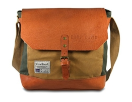 CAMP DAVID Trapper Creek Canvas Leder Mix Cross Bag Umhängetasche -
